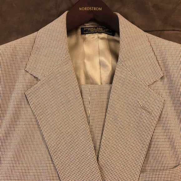 d422ce8d0a7 Brooks Brothers Other - Brooks Brothers Tan Plaid Seersucker Suit 42L